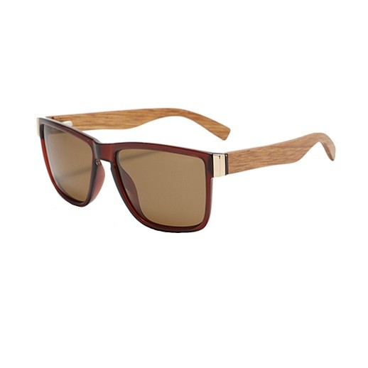 Elegante braun getönte Sonnenbrille mit Holzbügel bei bekos.ch