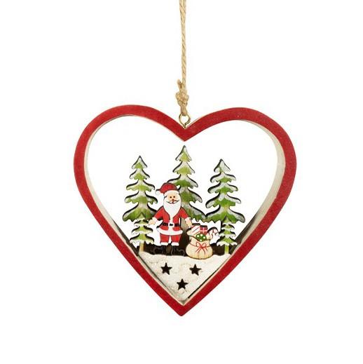 Holz - Baumschmuck Herz mit Weihnachtsmann bei bekos.ch