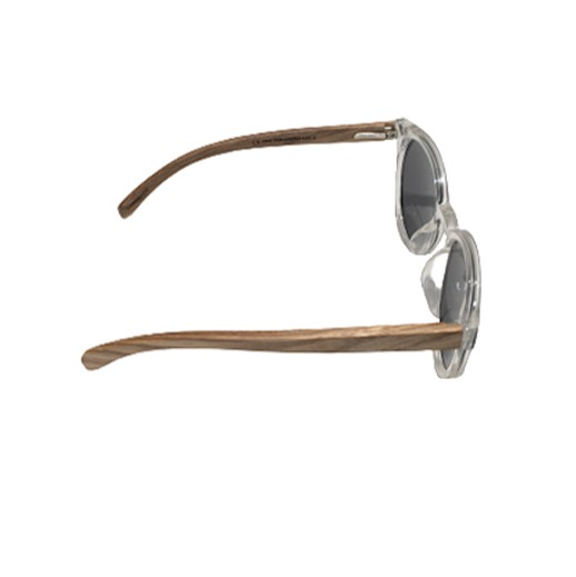 Polarisierende grau getönte Sonnenbrille mit Holzbügel bei bekos.ch
