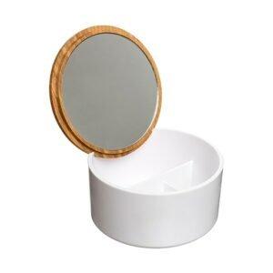 Schmuckdose - Bambus-Deckel mit Spiegel in weiss bei bekos.ch