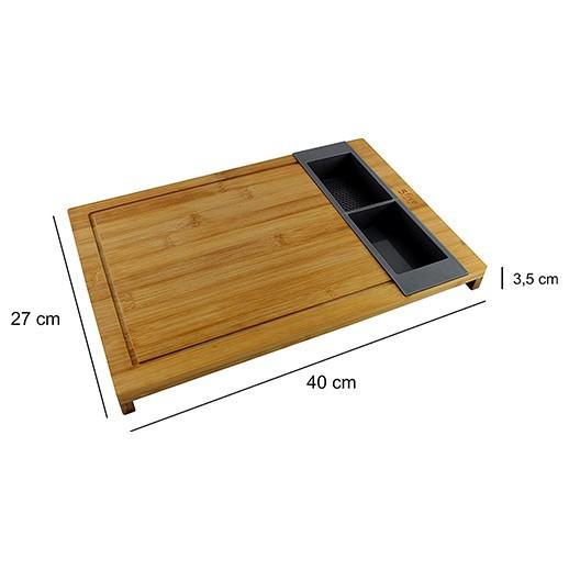Bambus Schneidbrett mit 2 Auffangbehältern bei bekos.ch