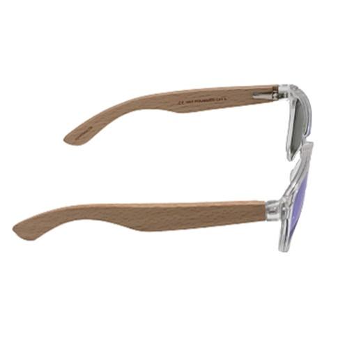 Polarisierende blau getönte Sonnenbrille mit Buchenholz bei bekos.ch
