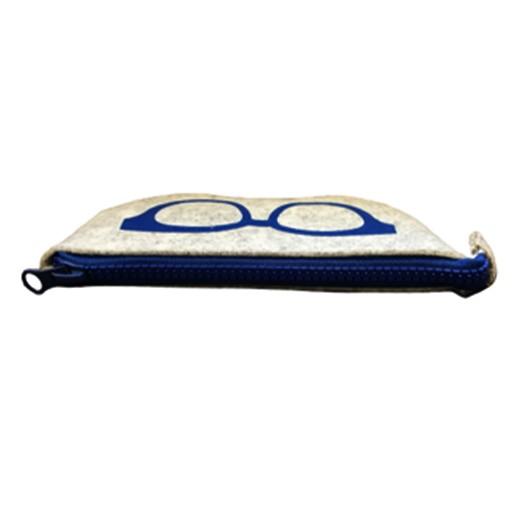 Brillenetui aus weichem Filz mit Reisverschluss Blau bei bekos.ch