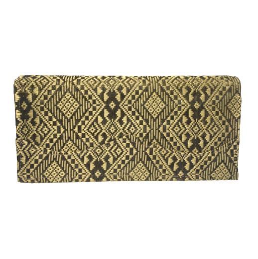 Elegante Damengeldbörse aus Khamer-Seide in schwarz / gold bei bekos.ch