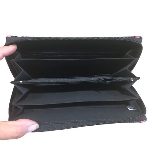 Geldbörse aus 100 % Baumwolle, schwarz / pink, large bei bekos.ch