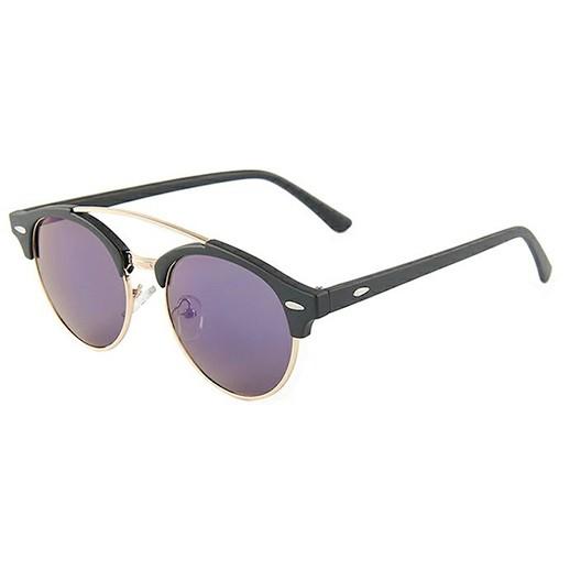 Sonnenbrille retro rund gespiegelt schwarz / gold bei bekos.ch