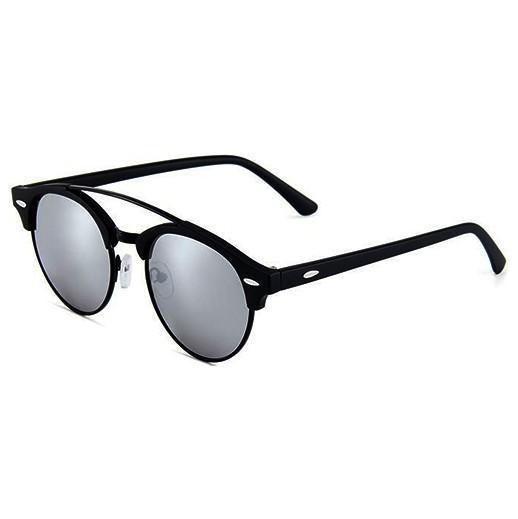Sonnenbrille retro rund gespiegelt schwarz / silber bei bekos.ch
