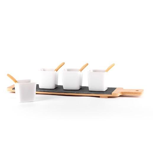 Apero Set aus Bambus / Schiefer / Porzellan, 9-teilig bei bekos.ch