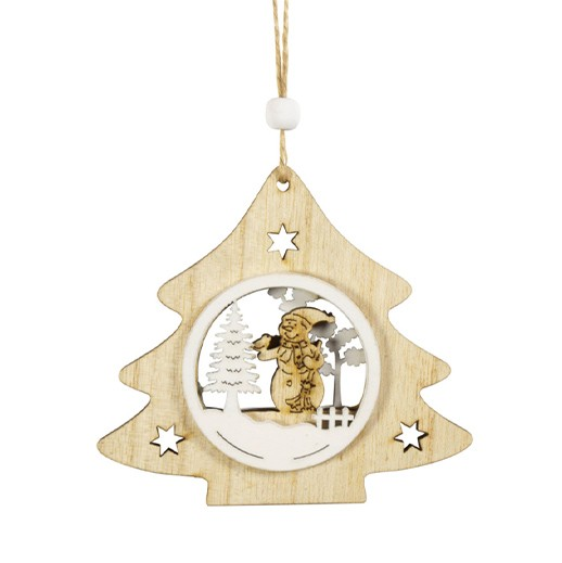 Holz-Baumschmuck Sterne und Bäume mit Intarsien 4er Set bei bekos.ch