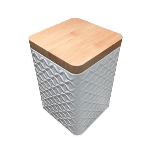 Viereckige Vorratsdose mit Deckel in Holzoptik bei bekos.ch