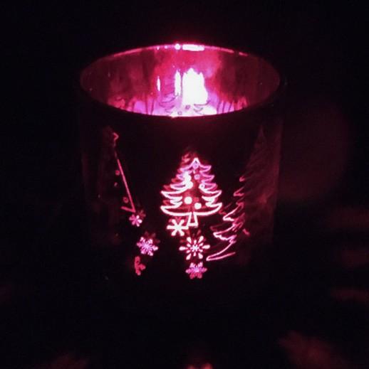 Windlichtglas Hirsch Rot und Silber metallisiert bei bekos.ch