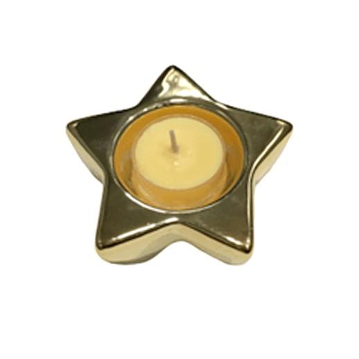 goldiger Teelichthalter Sternform bei bekos.ch