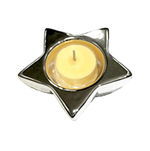 silbriger Teelichthalter Sternform bei bekos.ch