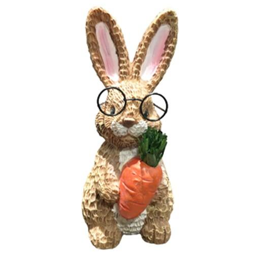 """""""Anton"""" lustiger Hase mit grosser Brille und Karotte stehend bei bekos.ch"""