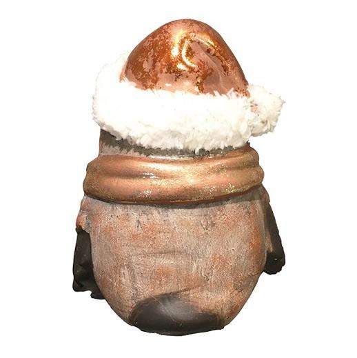 Bronze Eule mit Fell- Zipfelmütze gerade bei bekos.ch