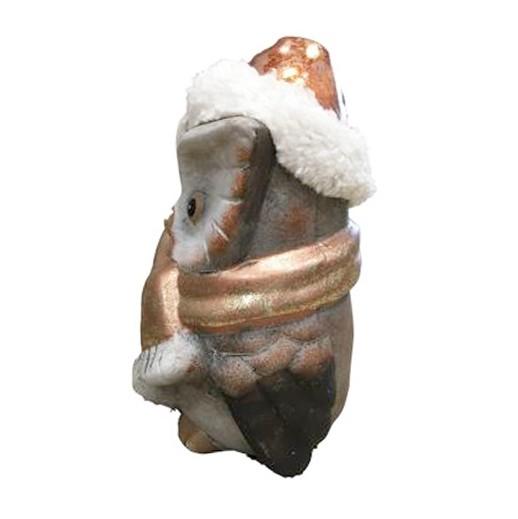 Bronze Eule mit Fell- Zipfelmütze seitlich bei bekos.ch