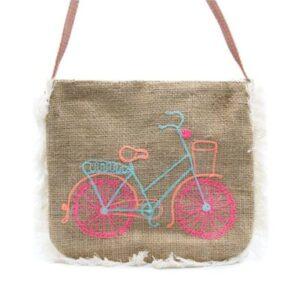 Edle Jute Fransentasche mit Fahrrad Stickerei bei bekos.ch