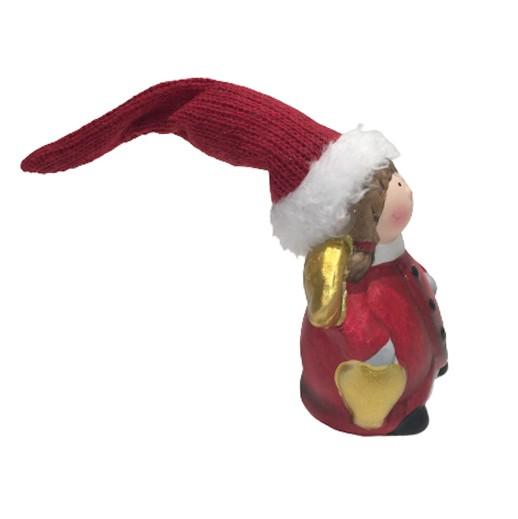 Goldiger Engel mit langer roter Zipfelmütze bei bekos.ch