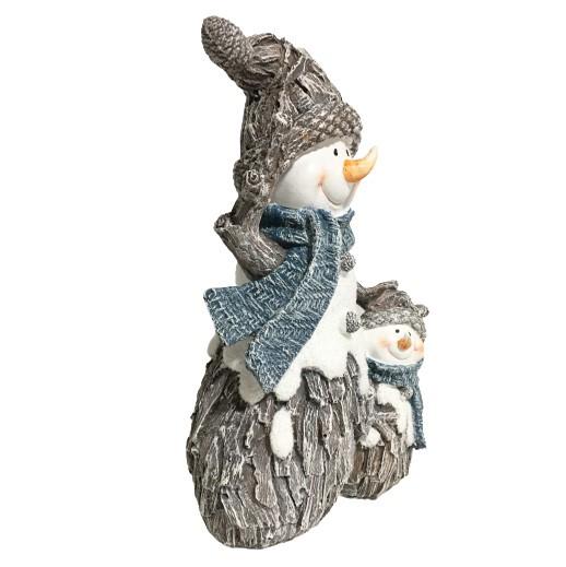 Grosse Dekofigur Schneemann mit Kind, Pommerlmütze und Schal grau/blau bei bekos.ch