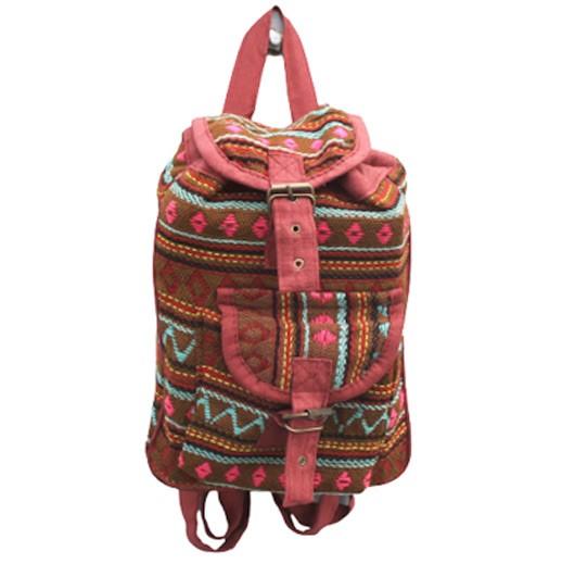 Handgefertigter Rucksack aus Nepal Oliven Grün bei bekos.ch