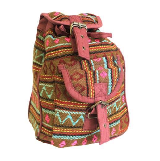 Handgefertigter Rucksack aus Nepal Oliven Grün bei bekos.chh
