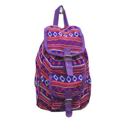Handgefertigter Rucksack aus Nepal Violet bei bekos.ch