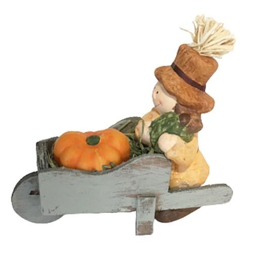 """Herbst Dekofigur """"Rosi"""" mit Holzschubkarre und Kürbis bei bekos.ch"""