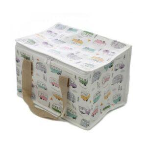 Kühltasche mit Wohnwagen-Motiven aus recycelten Plastikflaschen bei bekos.ch