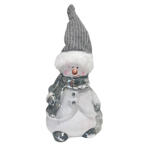 Lustiger Schneemann mit Schal und langer Zipfelmütze bei bekos.ch