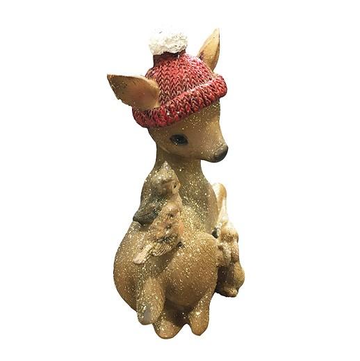 Süsse Rehfigur mit Mütze für Haus und Garten bei bekos.ch