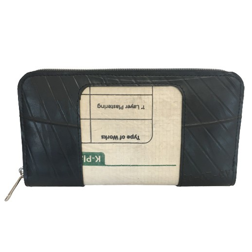 Upcycling - Geldbörse aus recycelten Autoreifen und K-Zementsäcke mit Reissverschluss bei bekos.ch