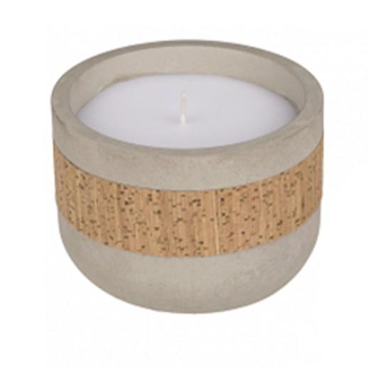 Wunderschöne Kerze im Zementtopf mit Kork-Dekoration bei bekos.ch